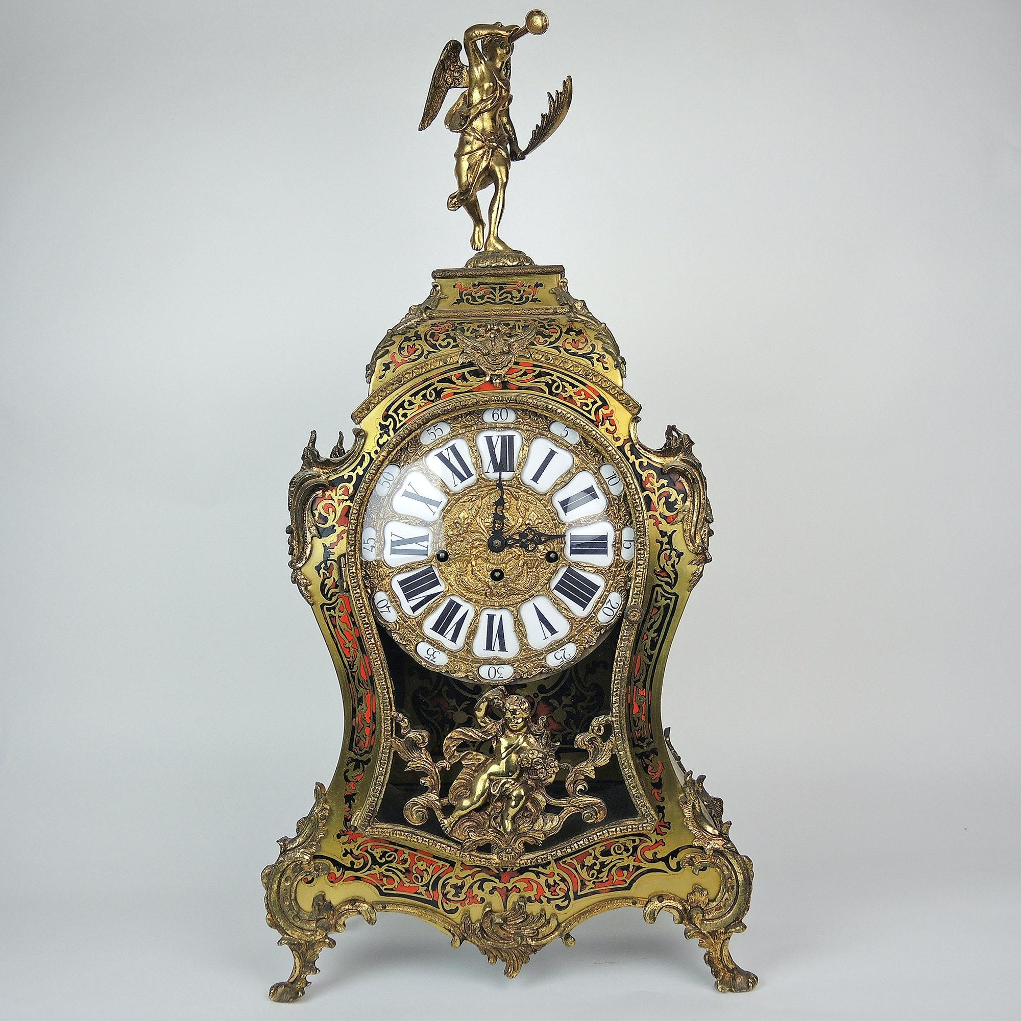 Large c. 1900 Antique French Boulle Mantel Clock