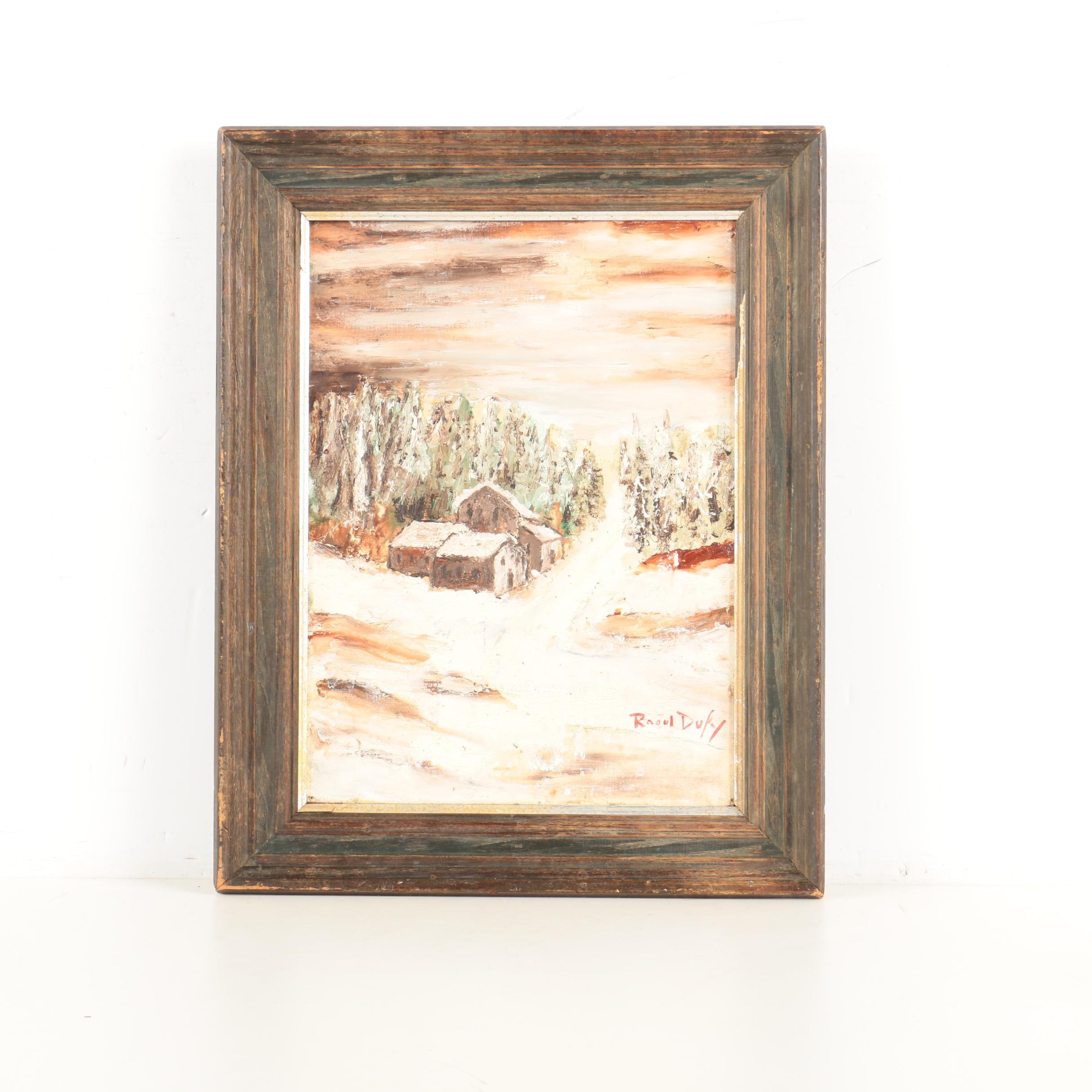 Raoul Dufy Oil on Canvas Winter Scene