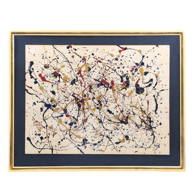 In the Manner of Jackson Pollock Oil and Enamel Painting on Paper