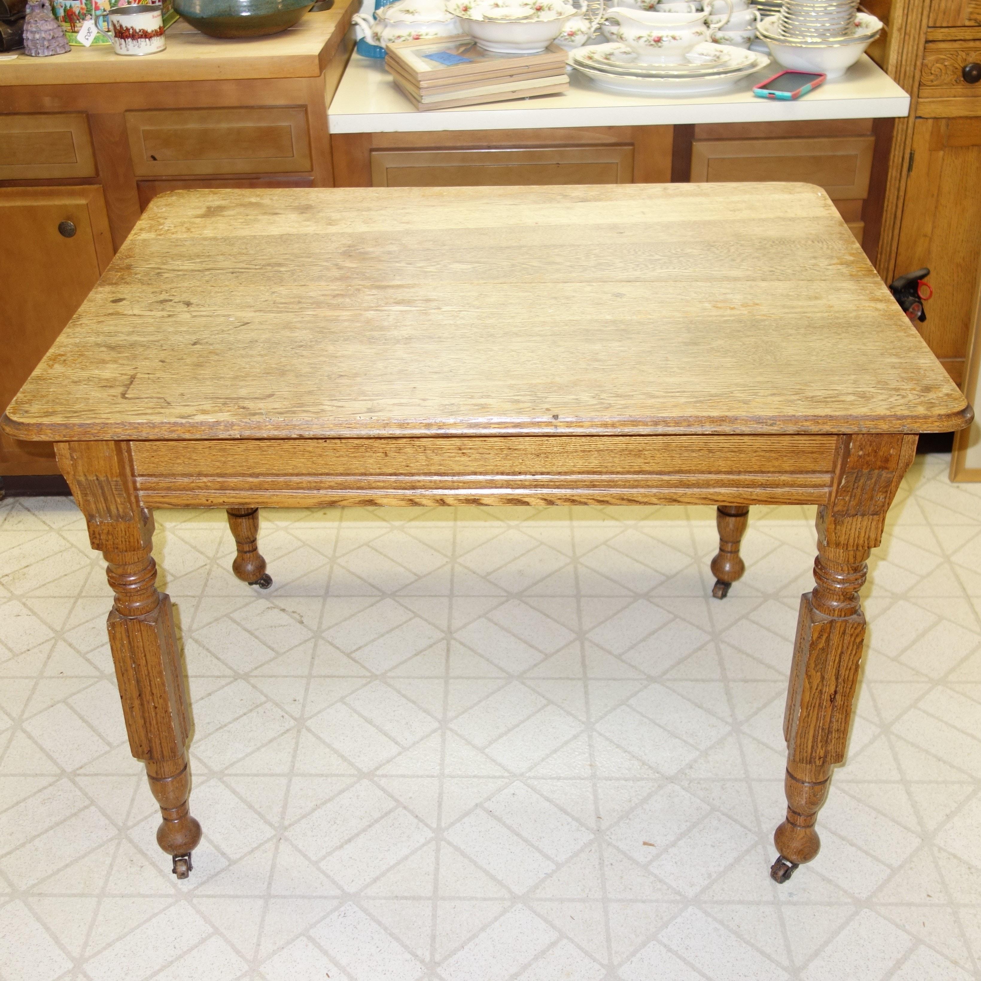 Antique Quarter Sawn Utility Table