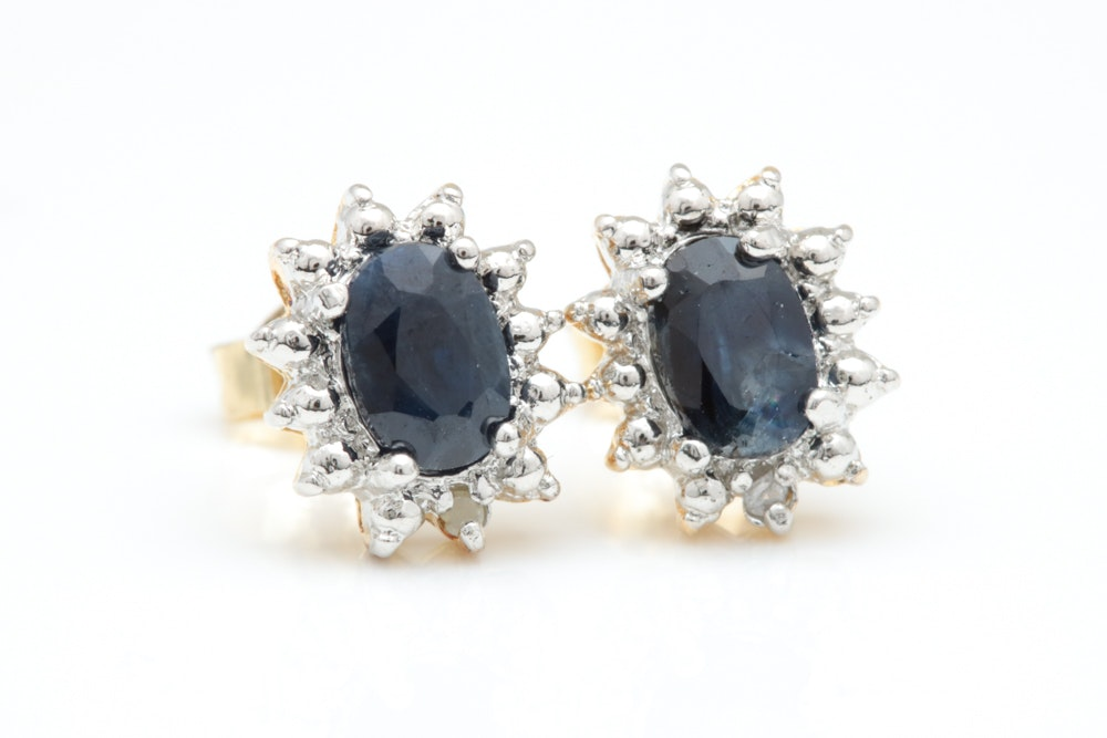 Gold Plated Sterling Silver, Commercial Grade Blue Sapphire and Diamond Earrings