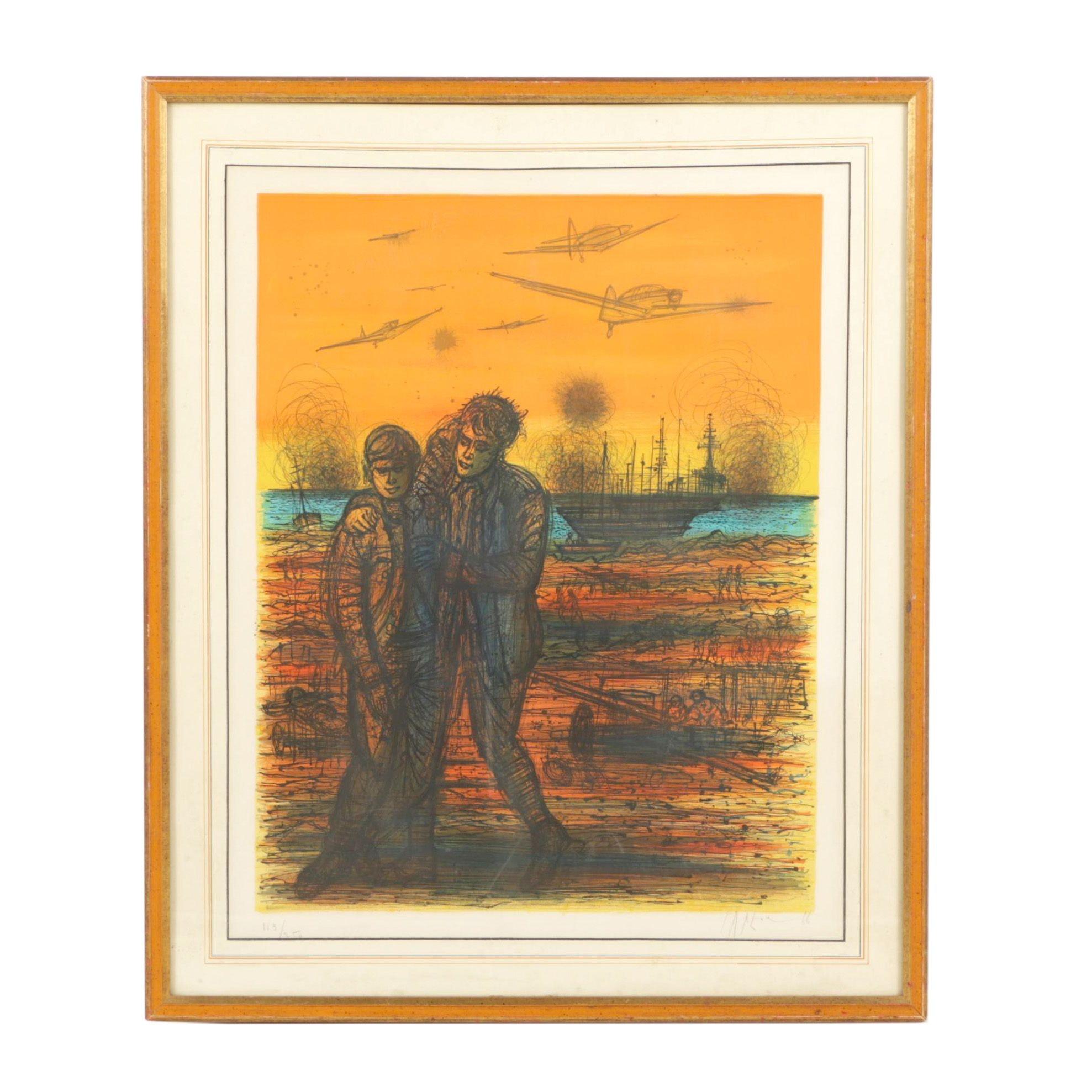 "Jean Carzou 1966 Limited Edition Color Lithograph ""Sous les Bombes"""