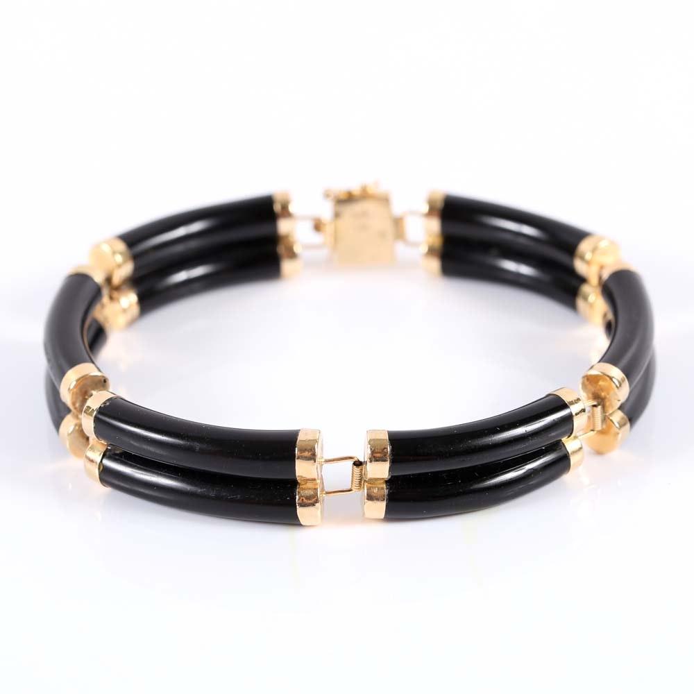 14K Yellow Gold Double Row Onyx Bracelet