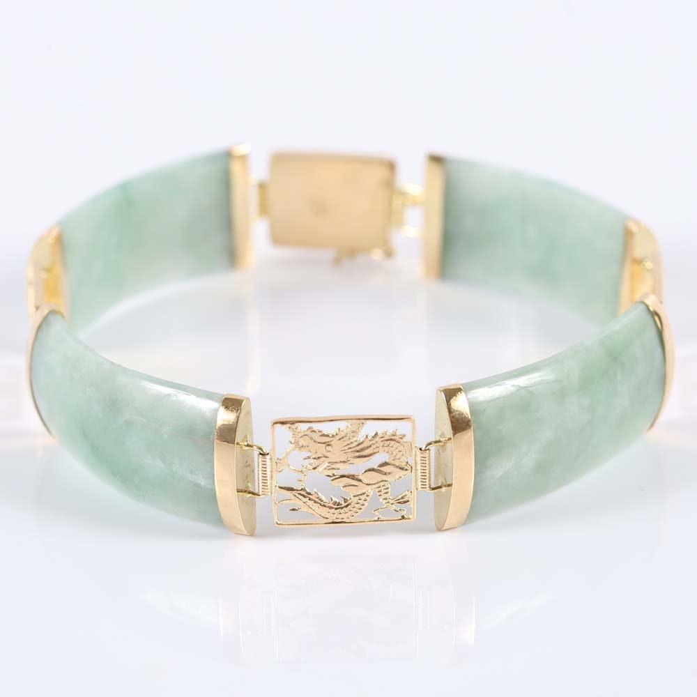 14K Yellow Gold Jadeite Bracelet