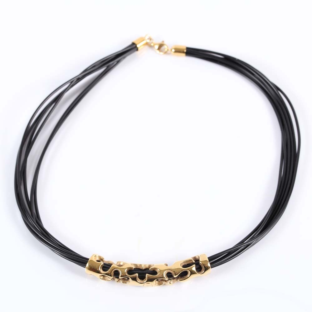 14K Yellow Gold and Black Cord Necklace