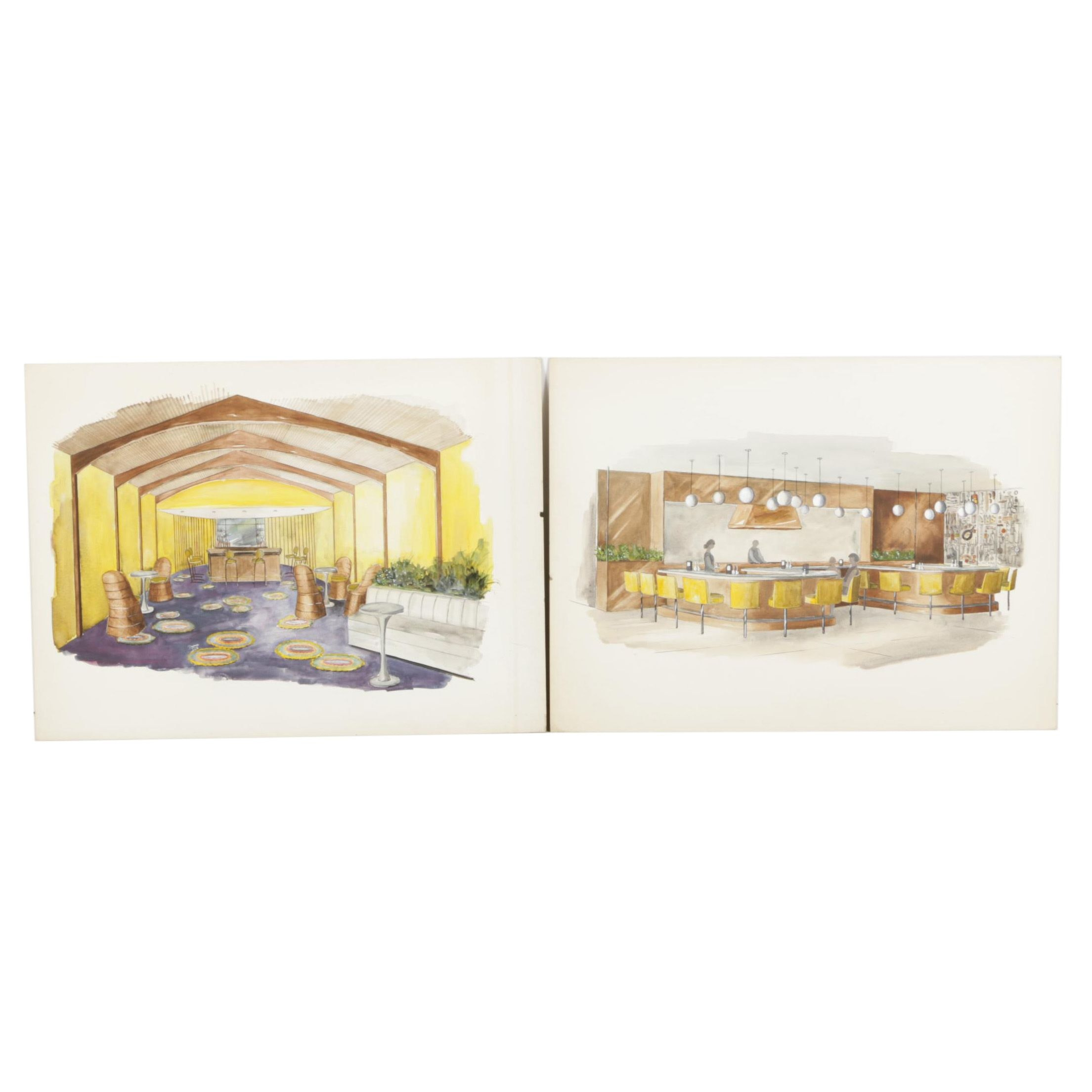 Two Watercolor and Ink Interior Design Paintings on Illustration Board