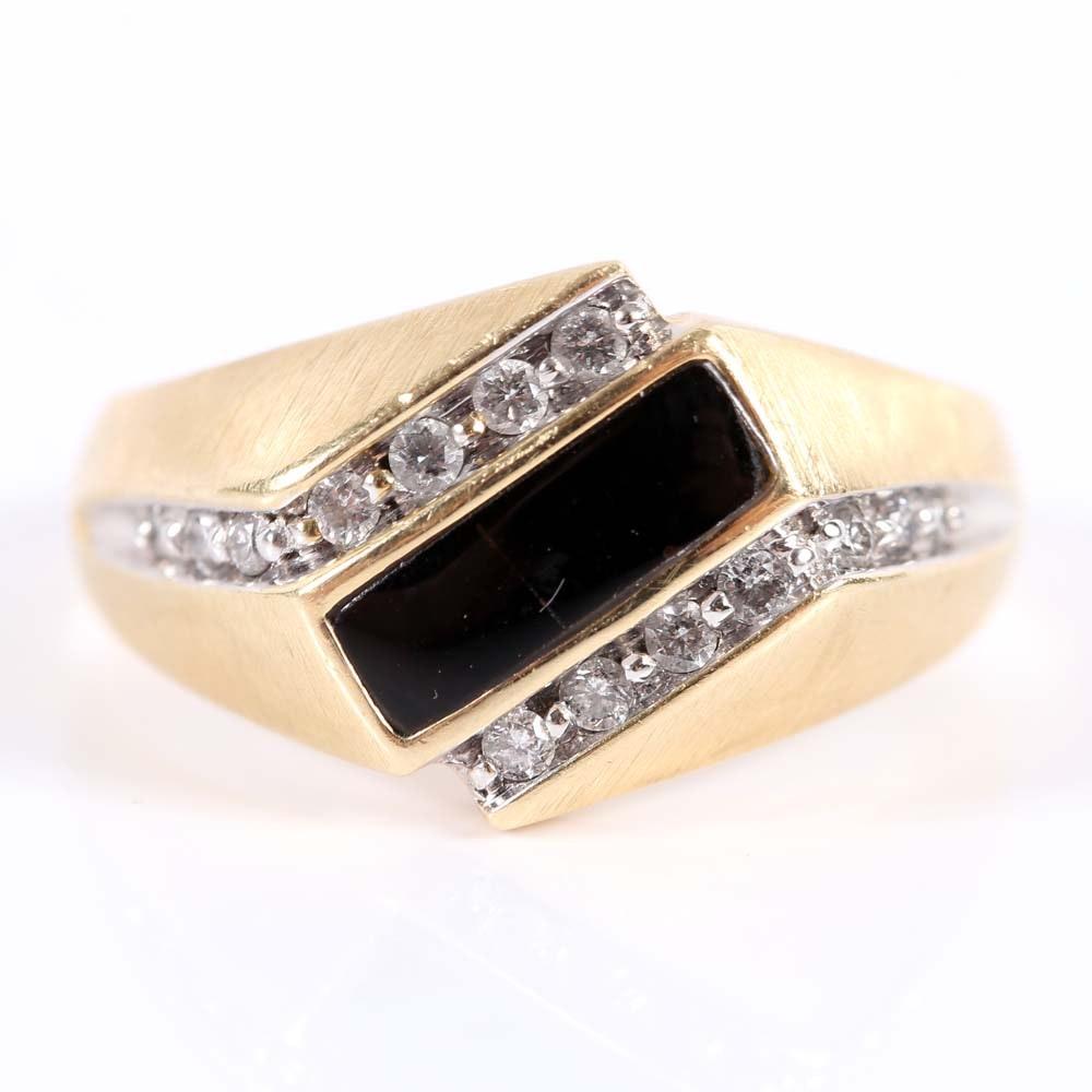 14K Yellow Gold Black Onyx and Diamond Bypass Ring