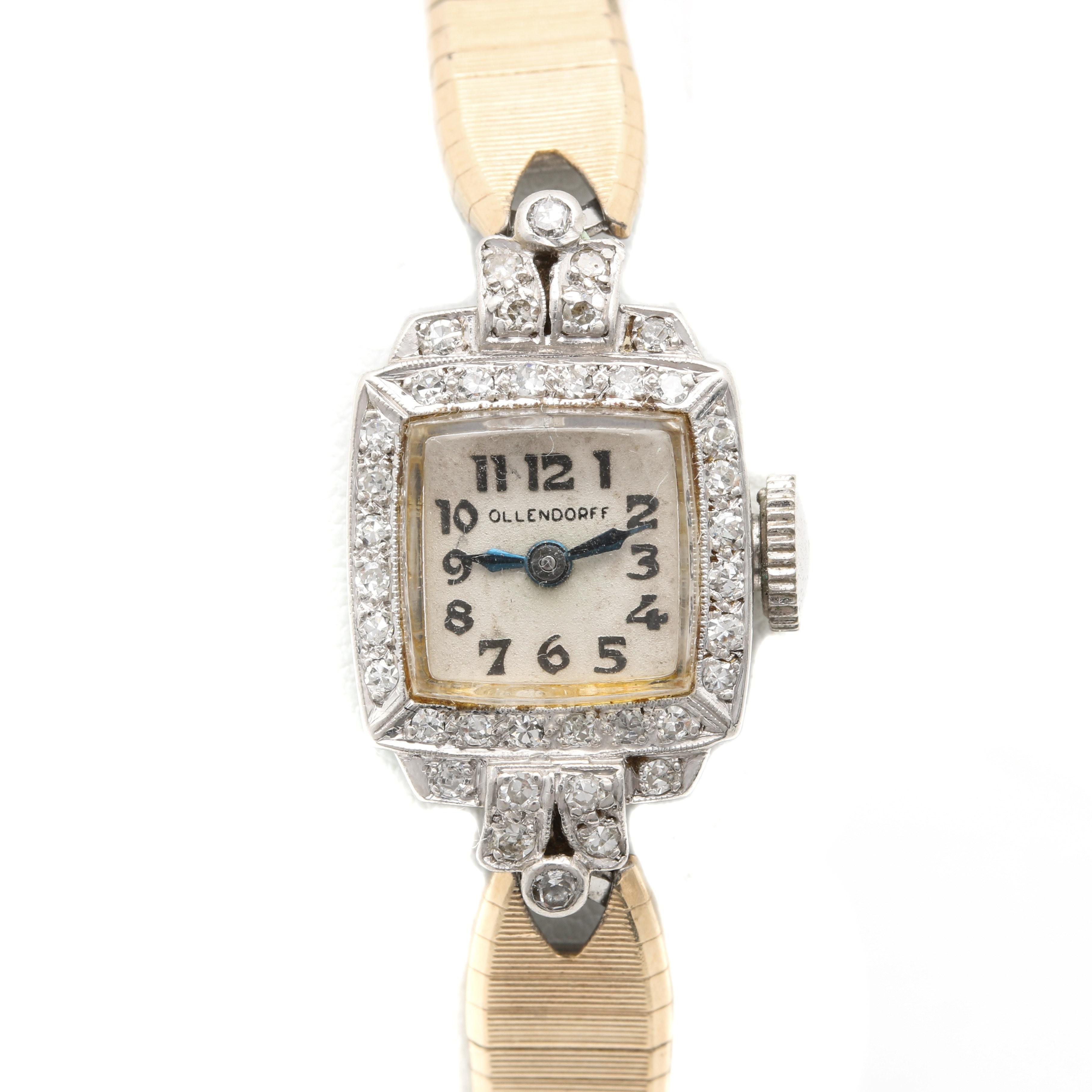 Ollendorf Platinum and Diamond Wristwatch