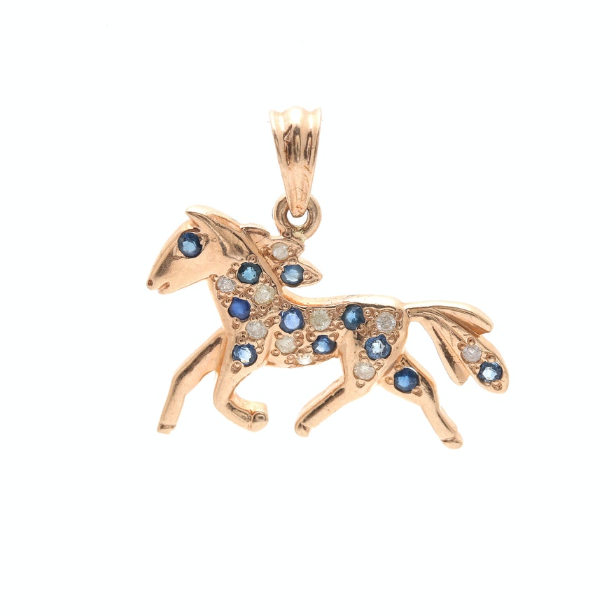 10k yellow gold sapphire and diamond horse pendant ebth 10k yellow gold sapphire and diamond horse pendant aloadofball Image collections