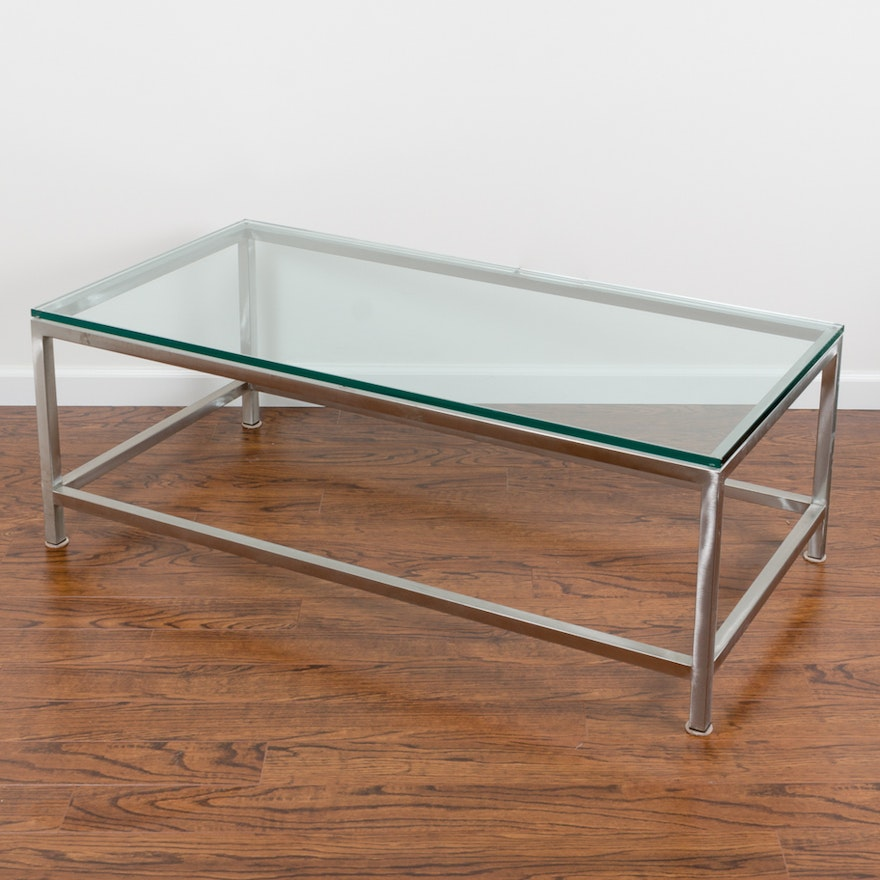 Era Glass And Metal Coffee Table By Crate Barrel Ebth