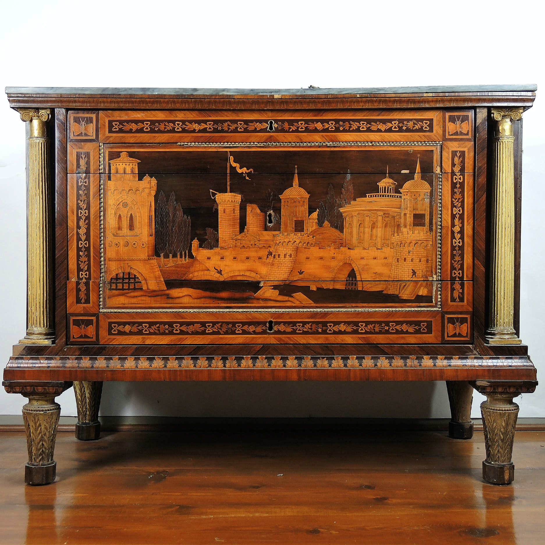 19th Century Italian Marquetry Inlaid Cabinet with Castle Scene