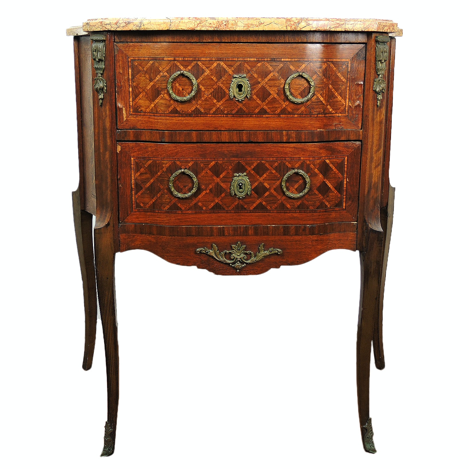 Antique French Louis XVI-Style Marble-top Marquetry Commode