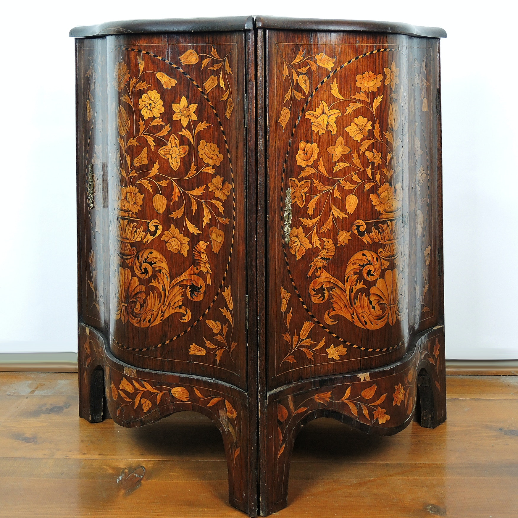 18th Century Dutch Marquetry Rosewood Corner Cabinets Floral and Bird Motif