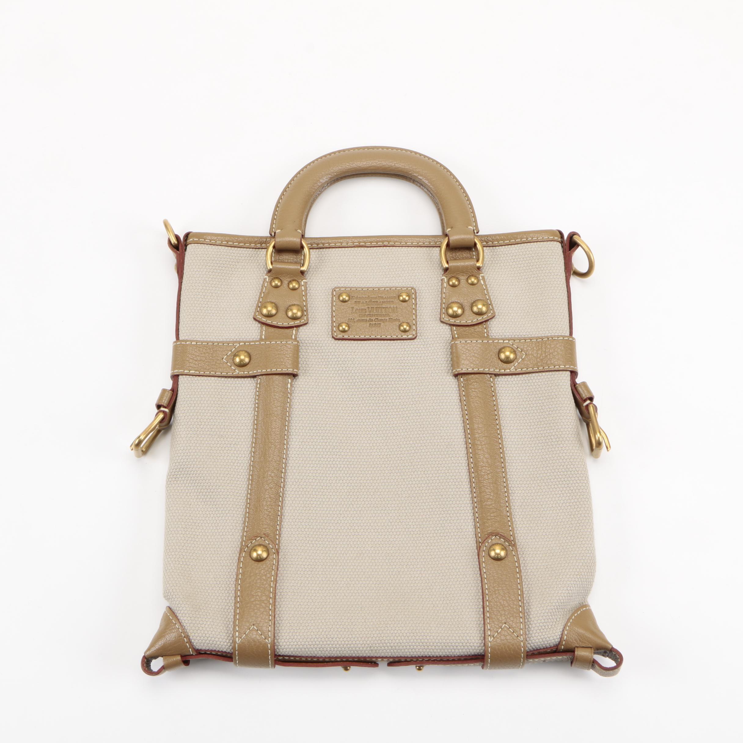 Louis Vuitton Leather Trimmed Canvas Handbag