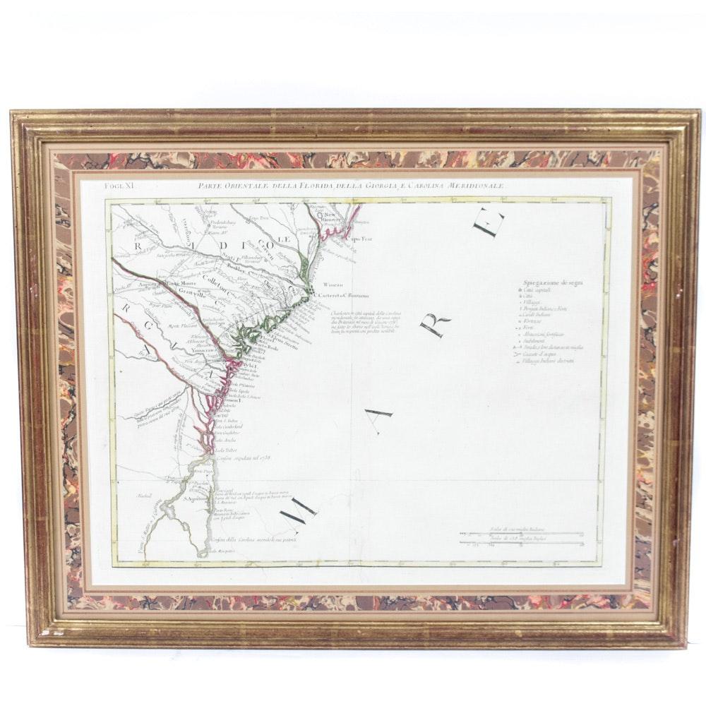 Antique Italian Map Etching