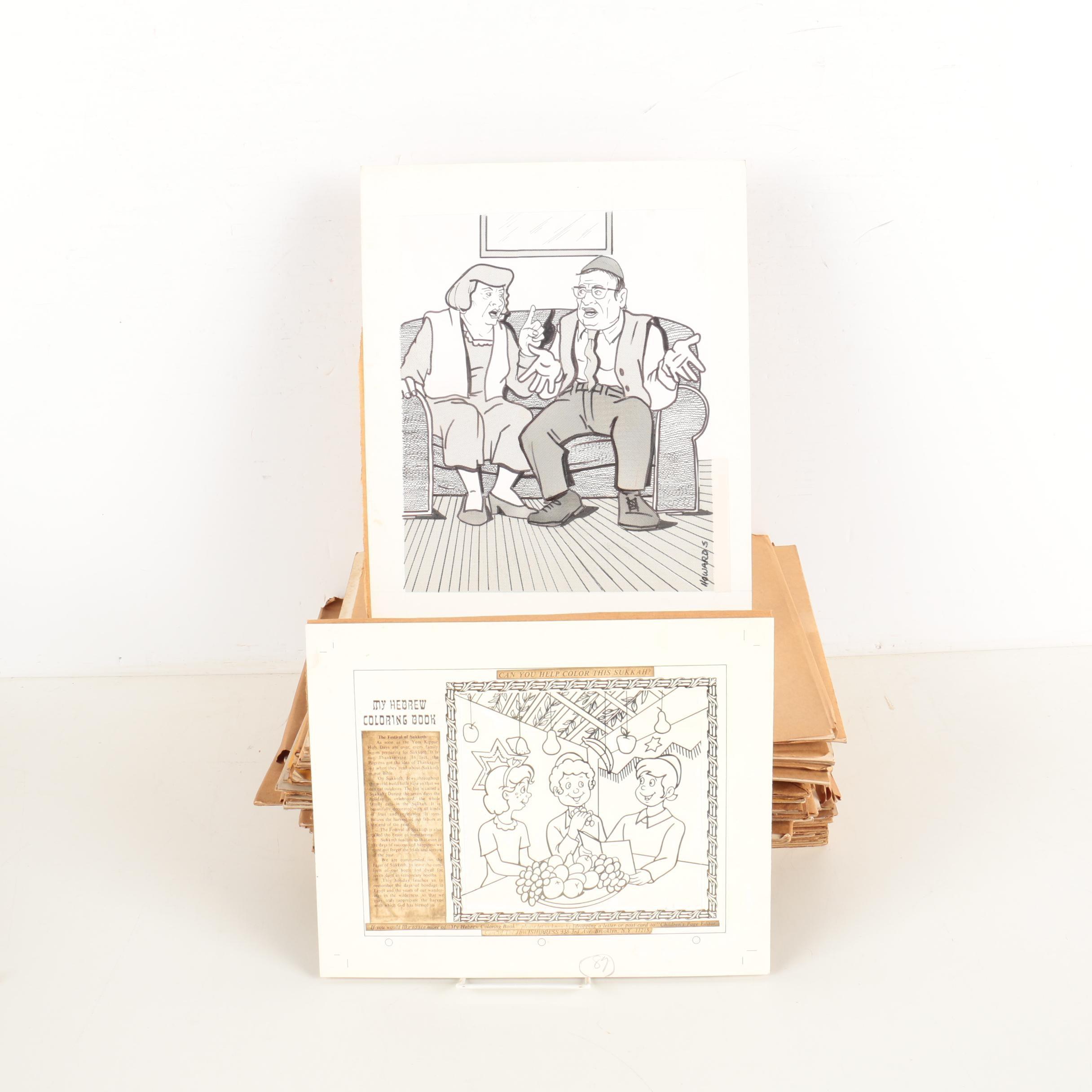 Ink Illustrations on Paper Featuring Howard Spielman