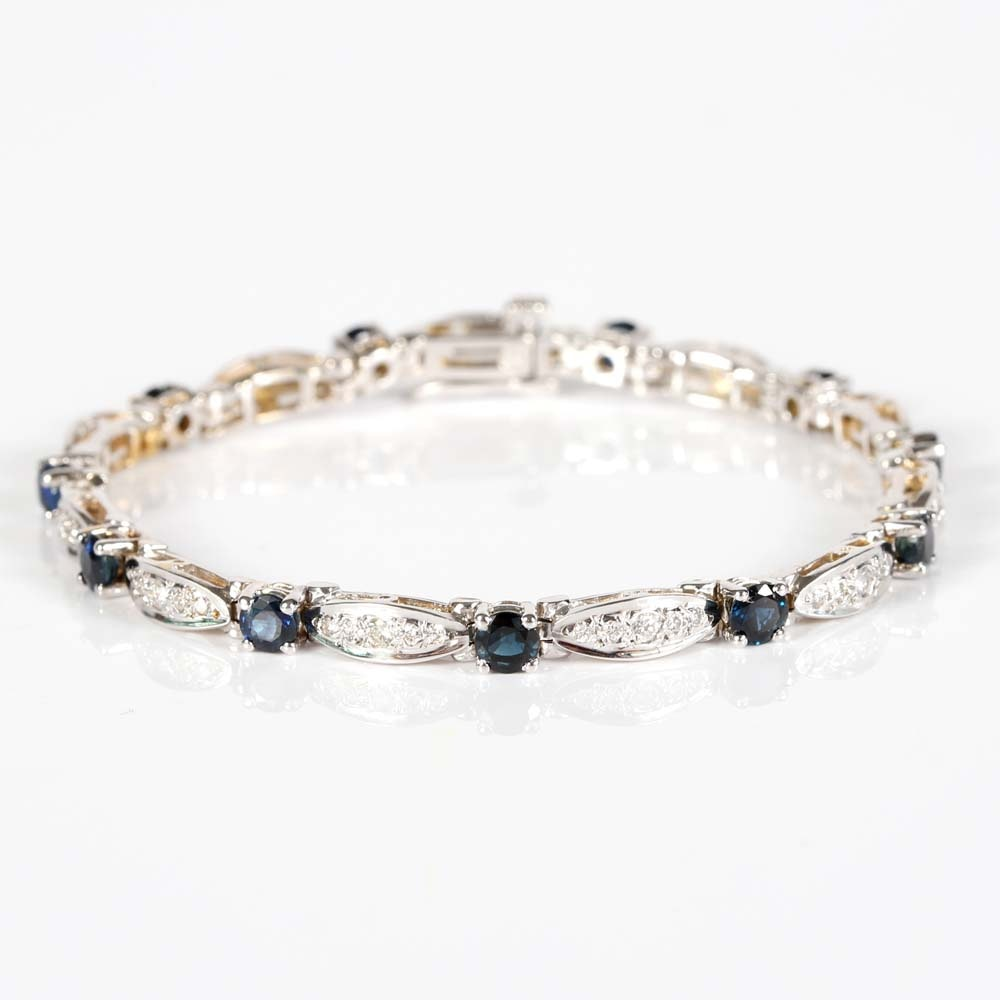14K White Gold 4.00 CTW Sapphire and Diamond Braclet