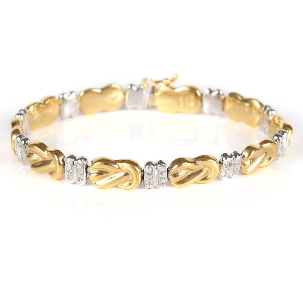 18K Yellow and White Gold Diamond Bracelet