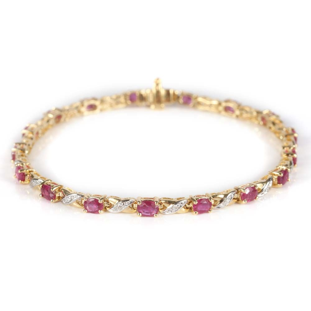 14K Yellow Gold 2.55 CTW Ruby and Diamond Tennis Bracelet
