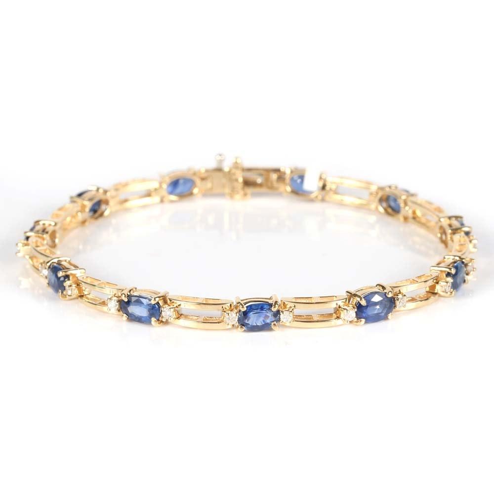 14K Yellow Gold 6.75 CTW Sapphire and Diamond Tennis Bracelet
