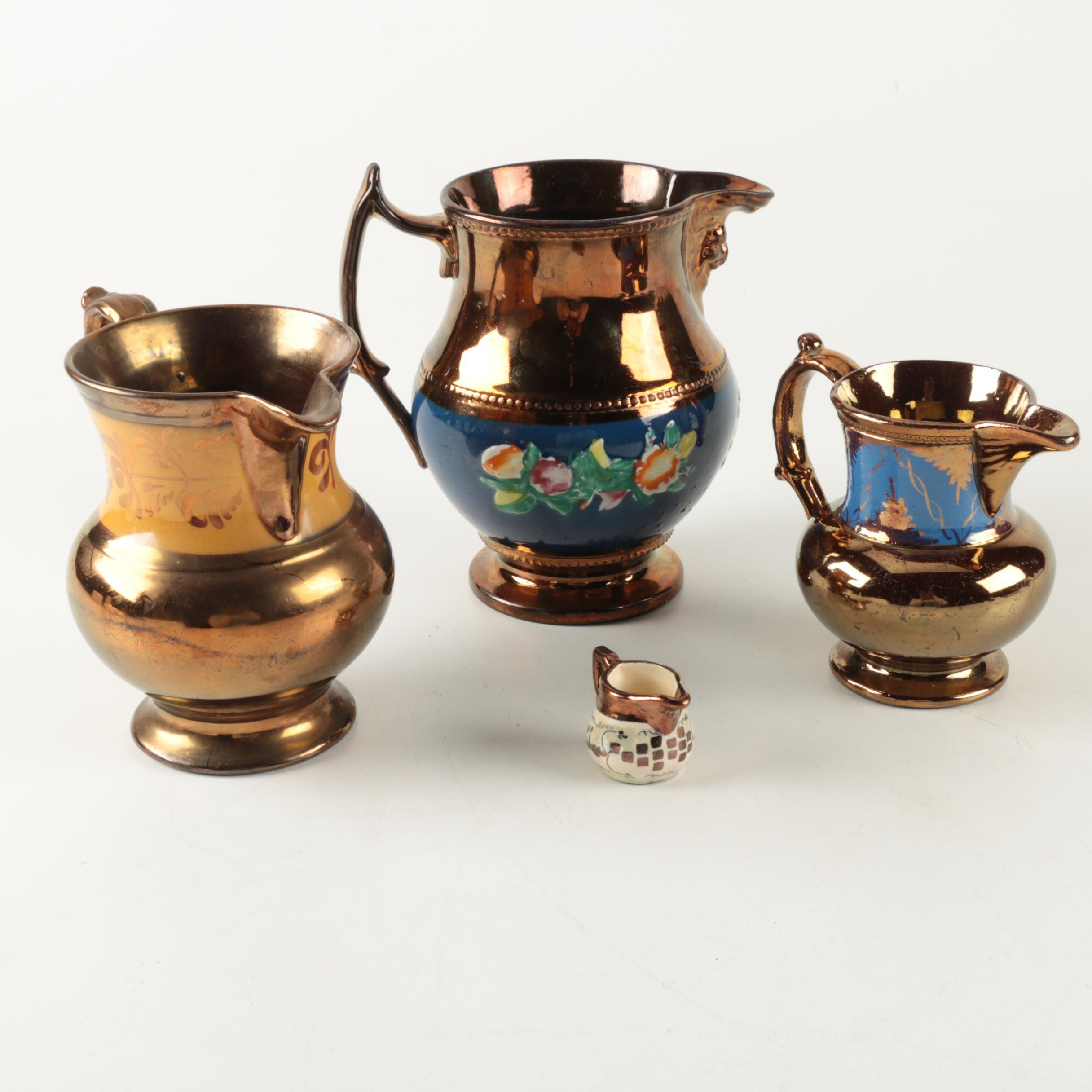 Collection of Hand Decorated Vintage Copper Lustre Pitchers