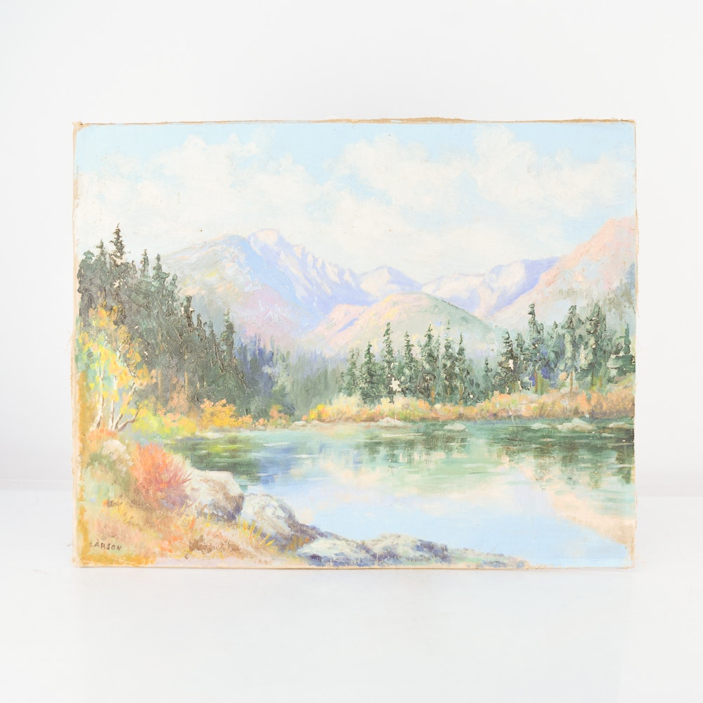 Larson Oil Painting of a Landscape on Canvas Board