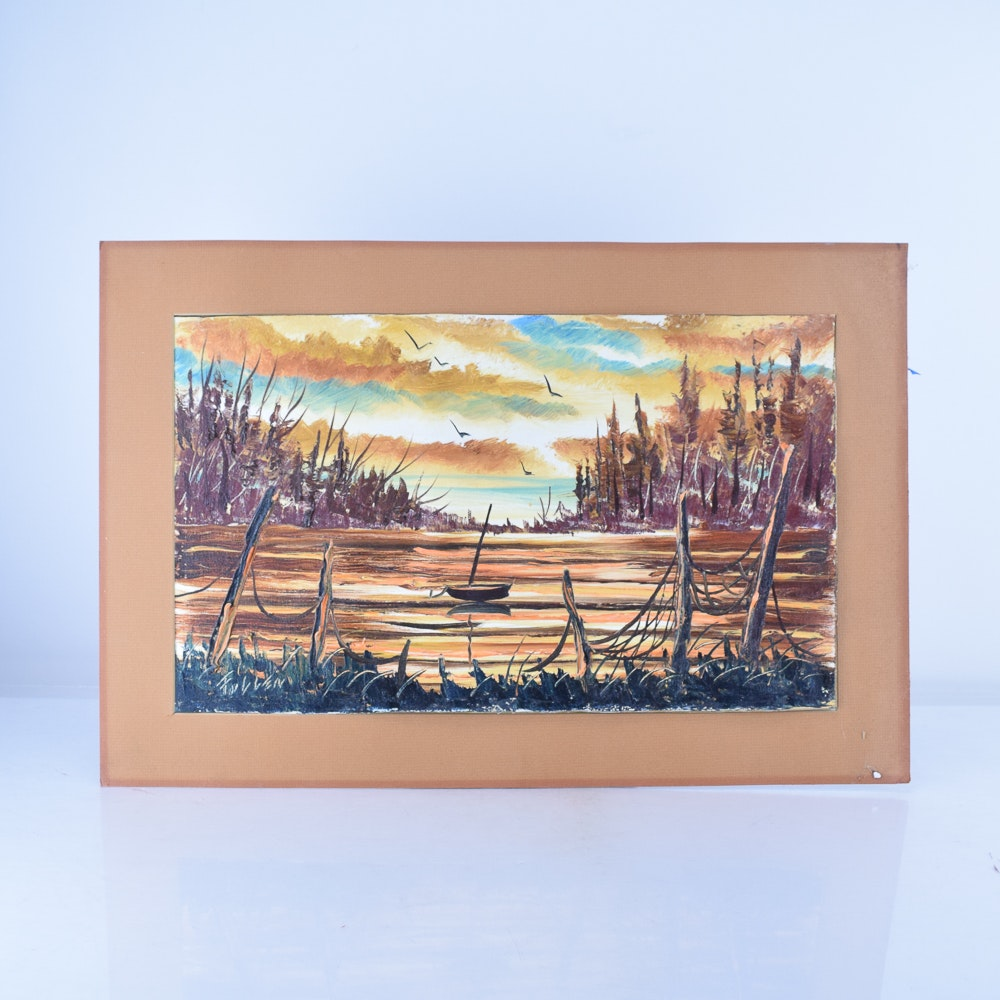 Herschel Fullen Oil Painting on Canvas of a Wooded Landscape