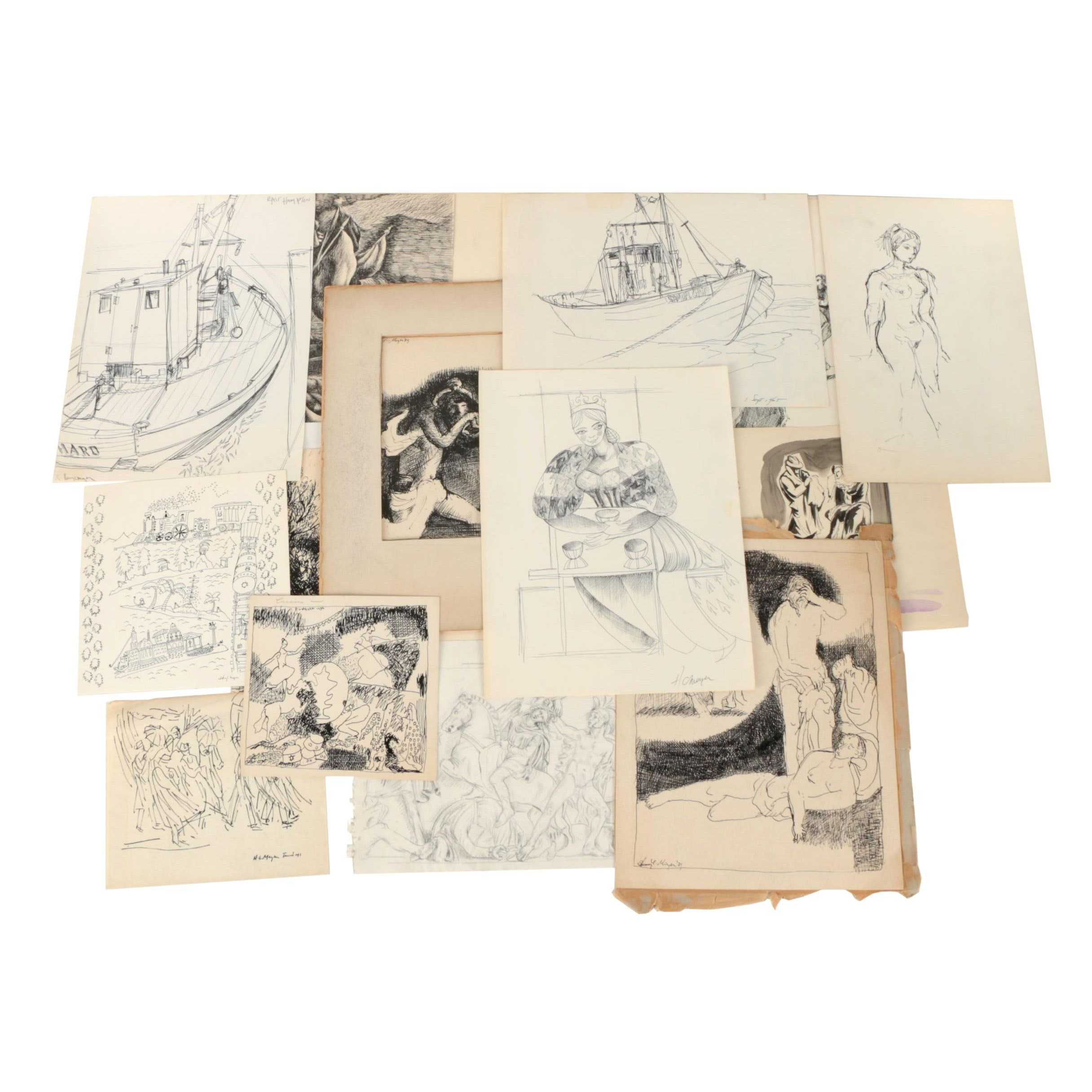 Collection of Ink and Graphite Drawings Featuring Henry C. Meyer