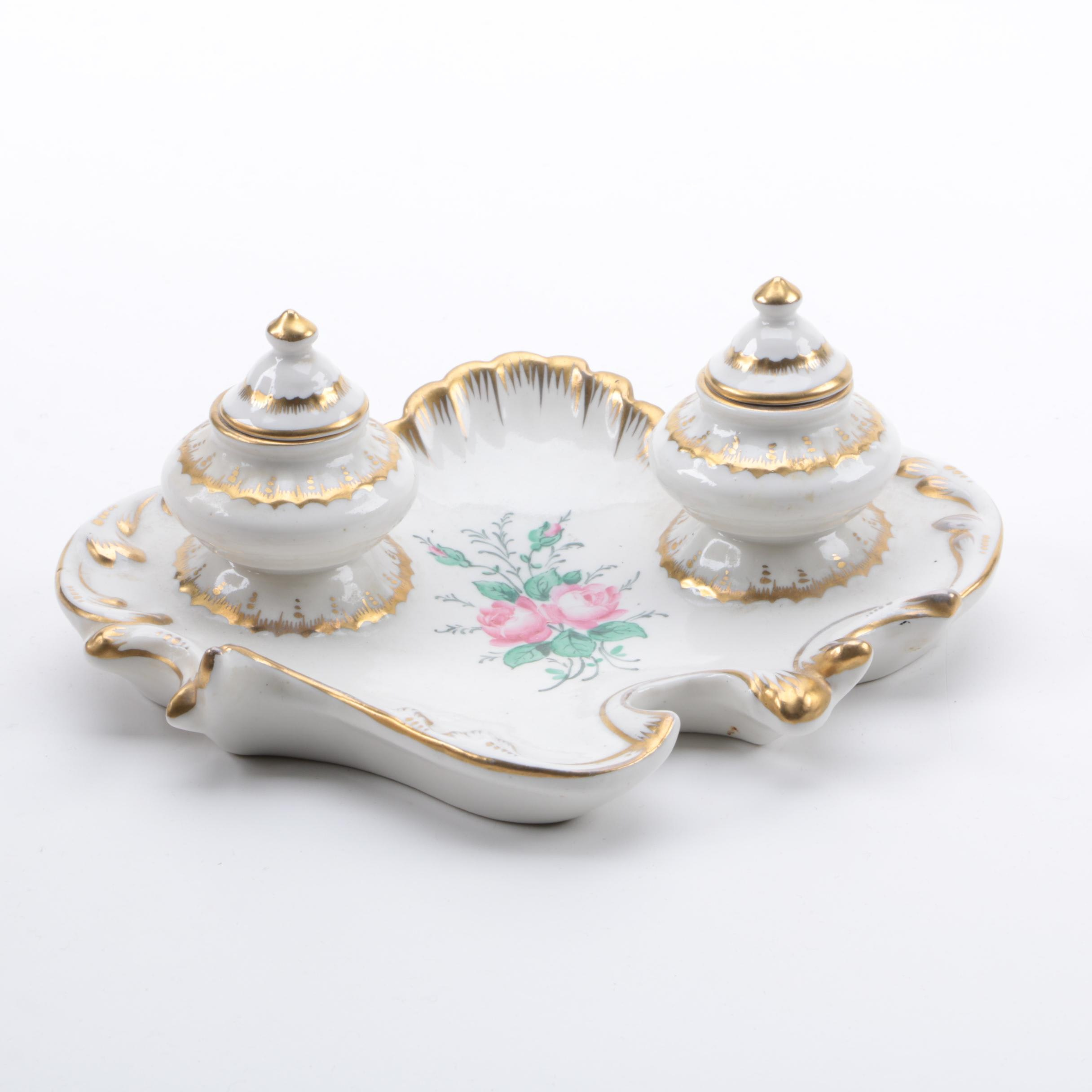 Hand Painted Porcelain Inkwell