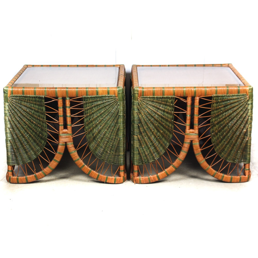 Large-Scale Wicker Side Tables