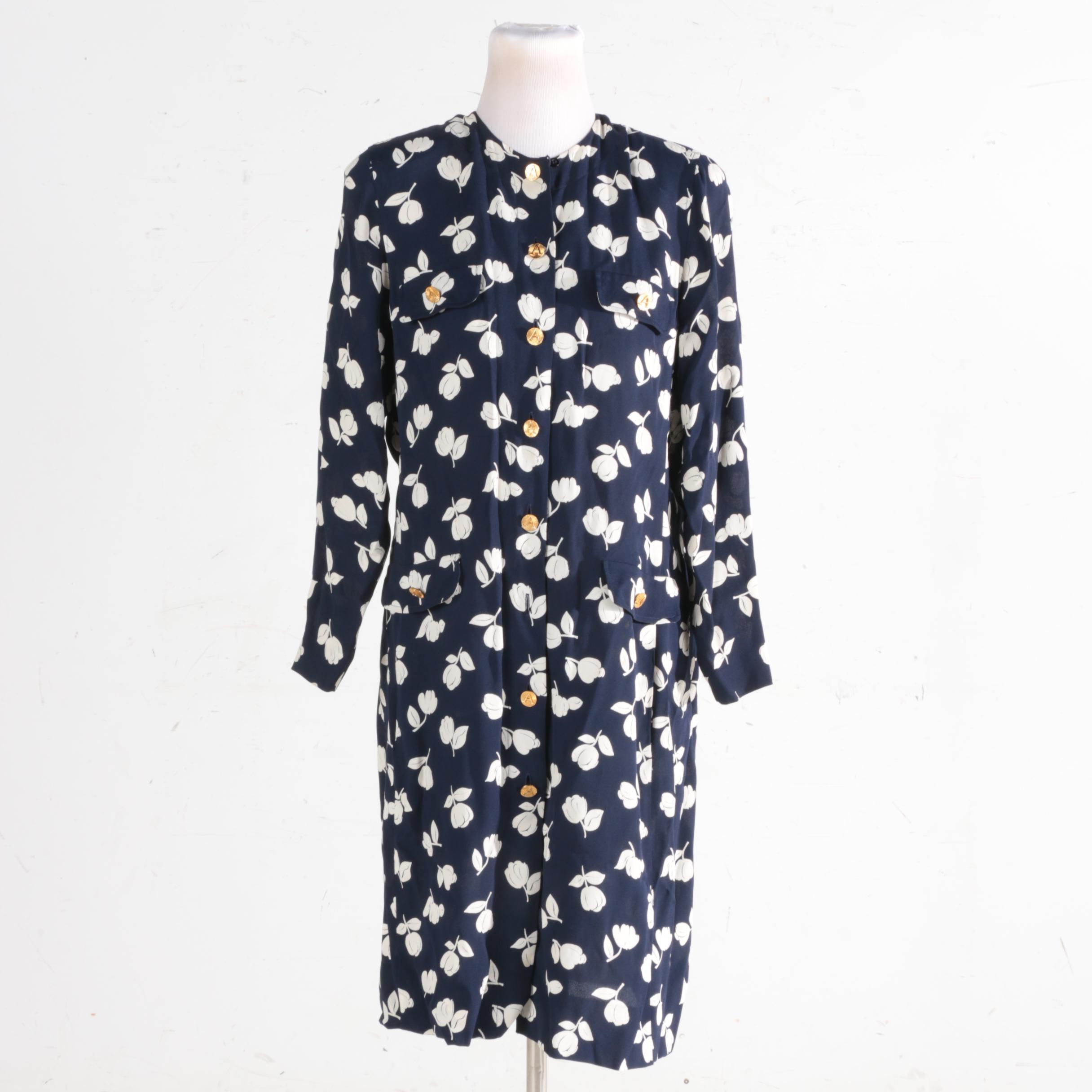 Adolfo Navy Blue Dress
