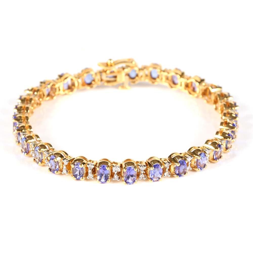 18K Yellow Gold Tanzanite and Diamond Tennis Bracelet