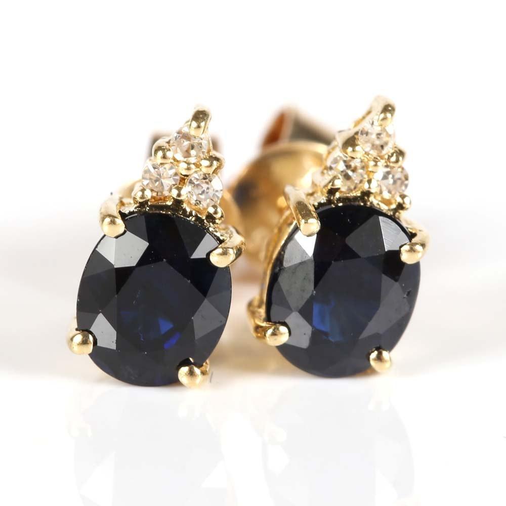 14K Yellow Gold 1.30 CTW Sapphire and Diamond Earrings
