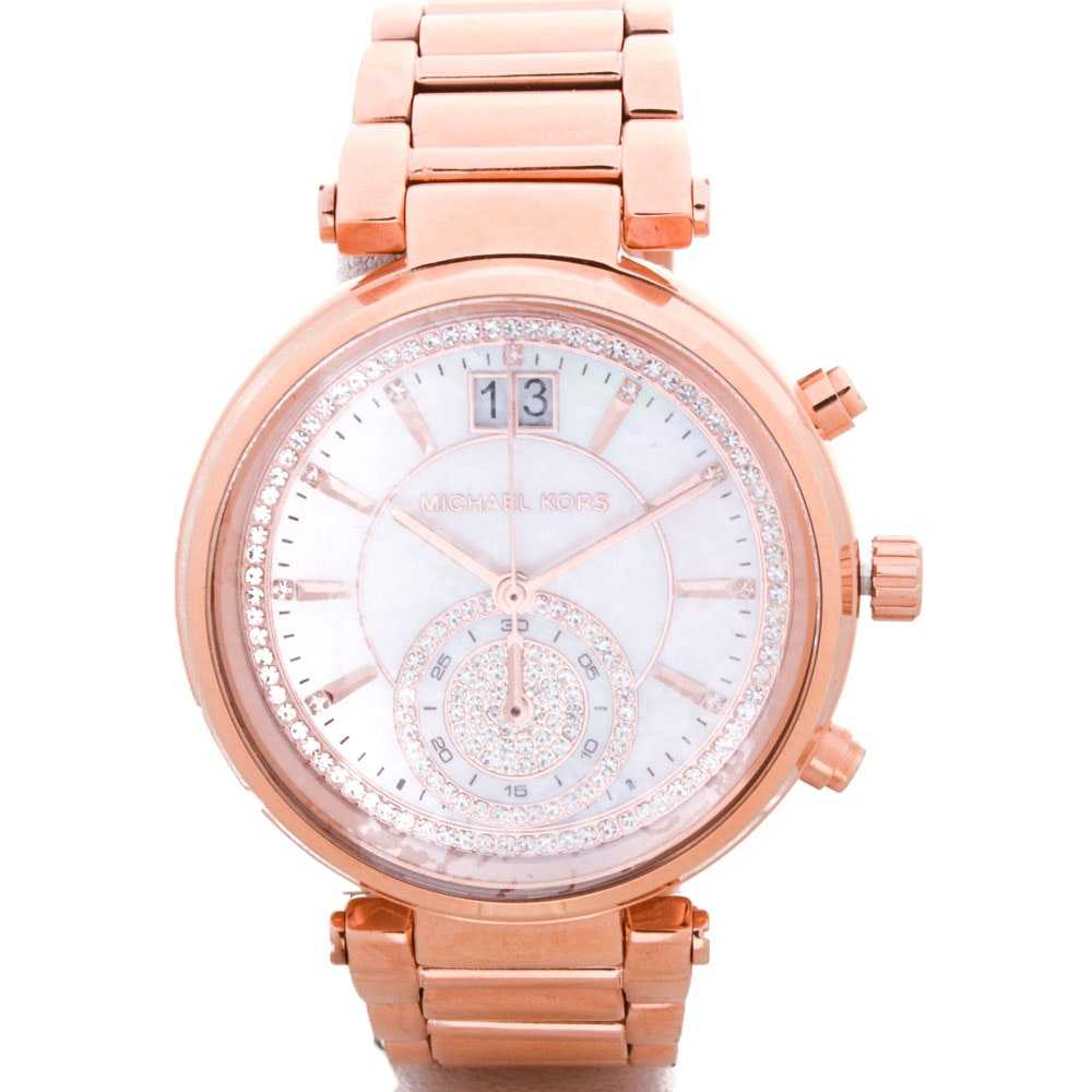 "Michael Kors Rose Gold Toned ""Sawyer"" Watch"