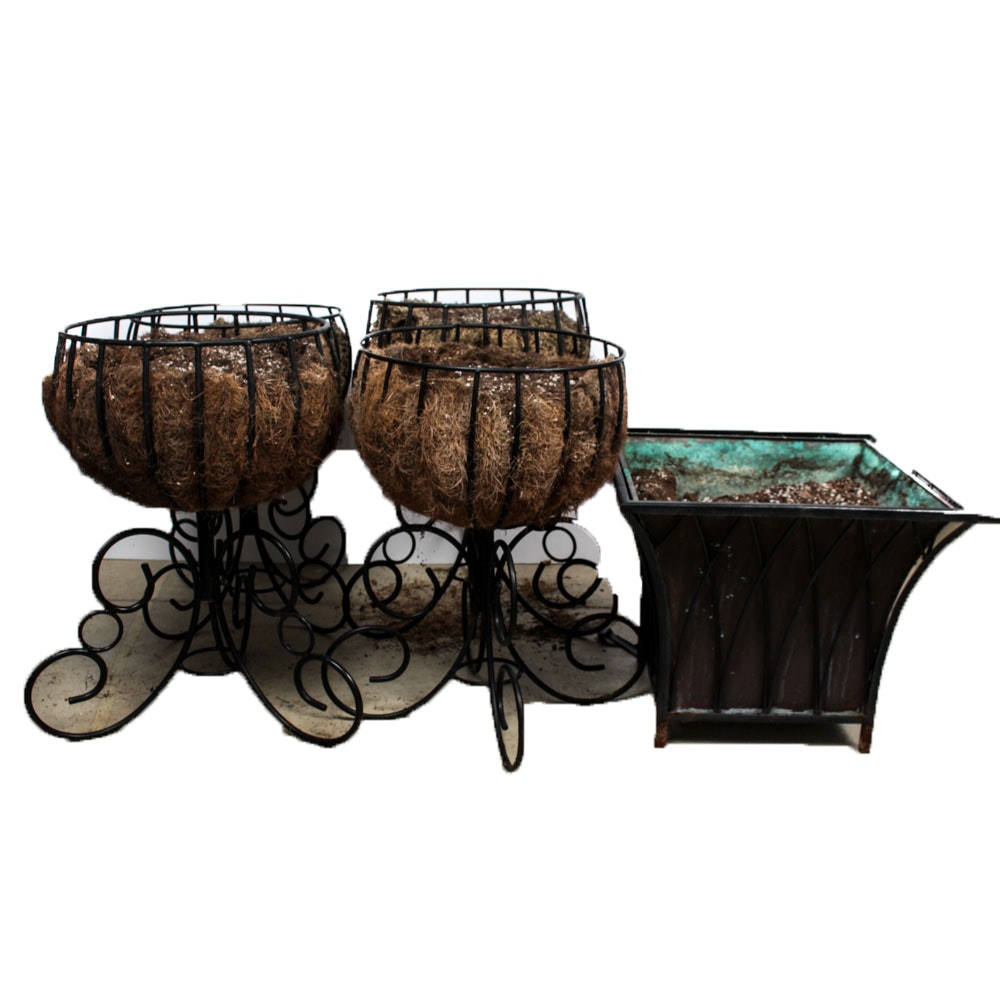 Wrought Iron and Copper Planters