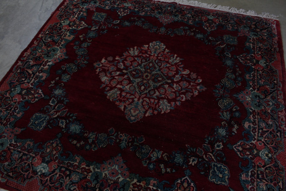 Hand Knotted Persian Kerman Square Area Rug Ebth