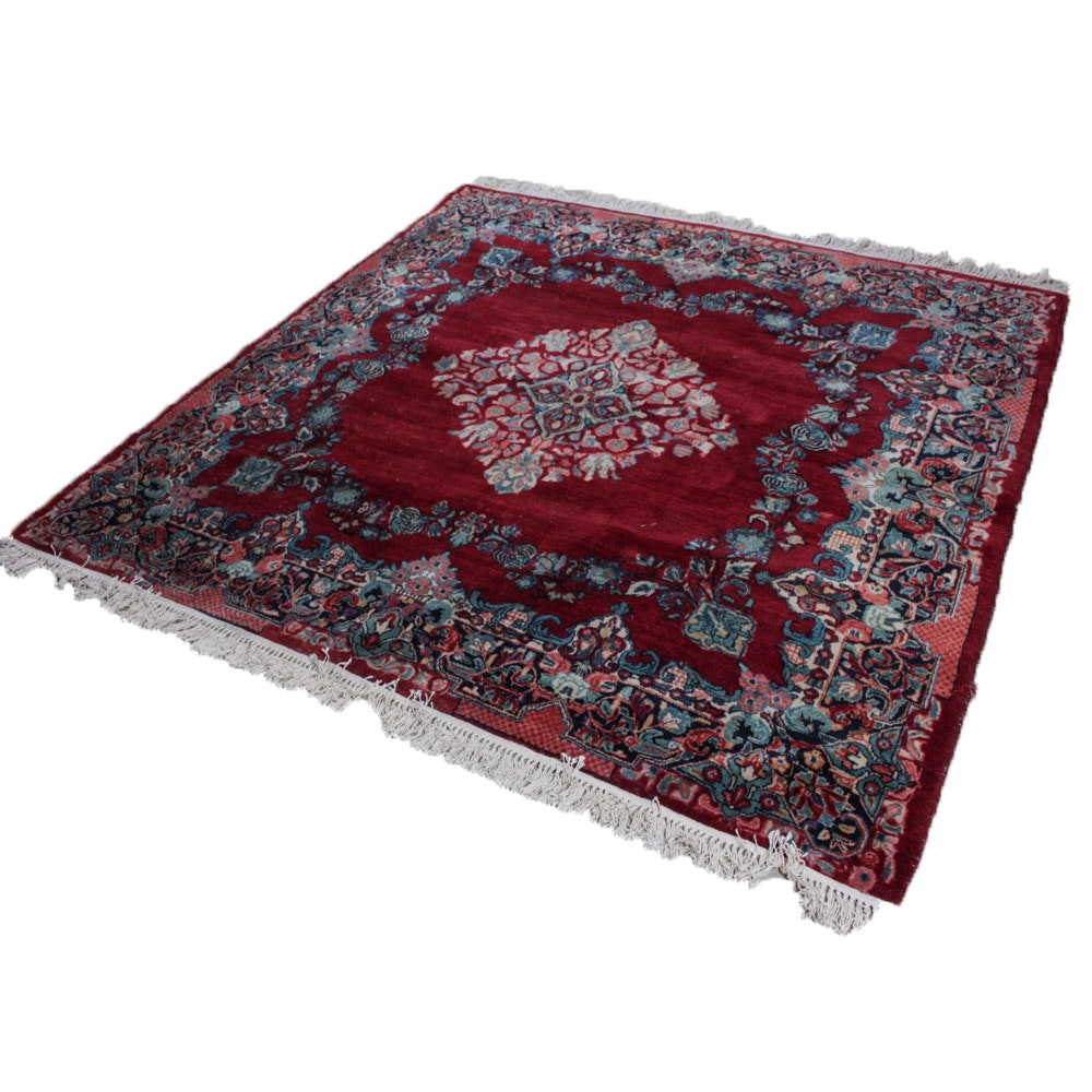 Hand-Knotted Persian Kerman Square Area Rug