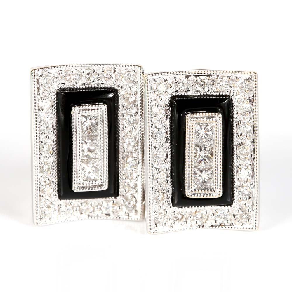14K White Gold Diamond and Black Onyx Earrings