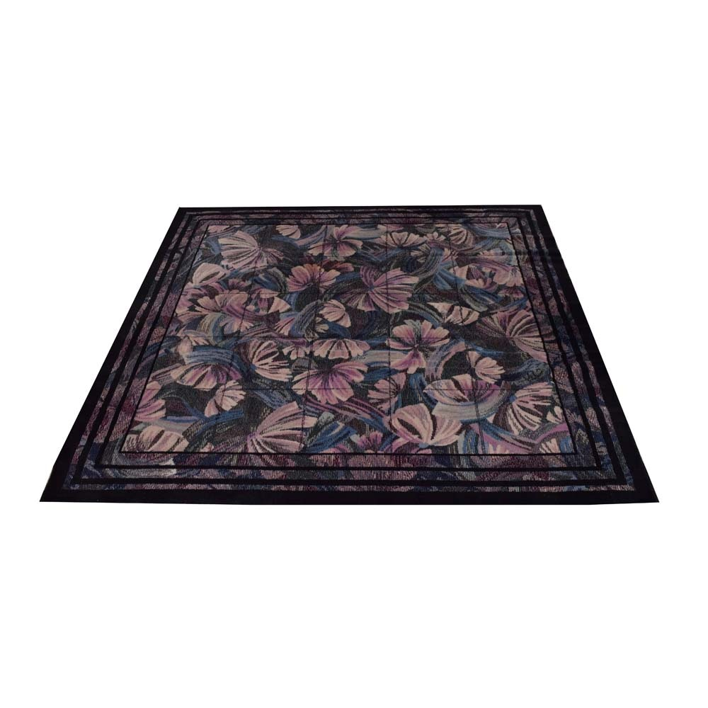 Machine Made Floral Square Rug