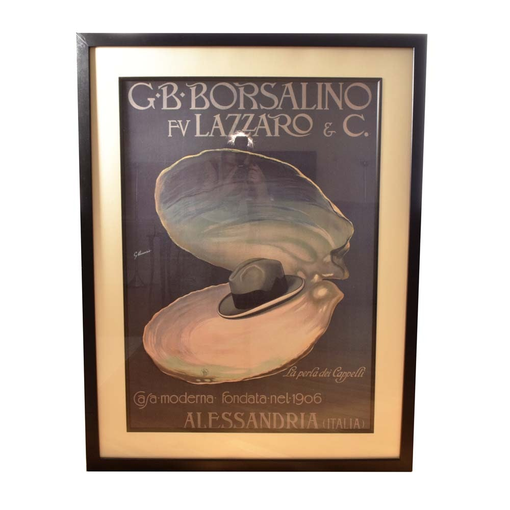 After G. Minonzio Borsalino Framed Offset Lithograph