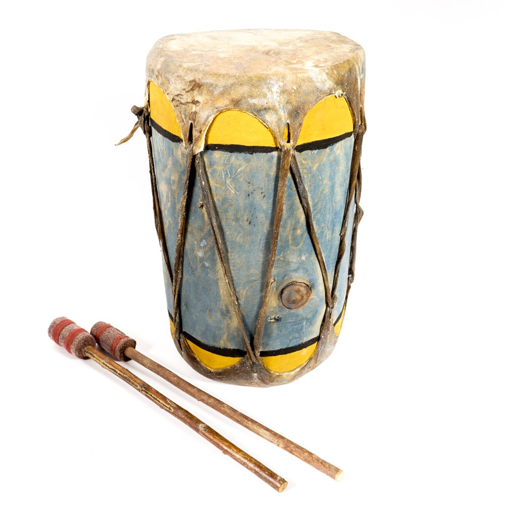 Handmade and Hand-Painted Wood and Hide Drum with Drumsticks