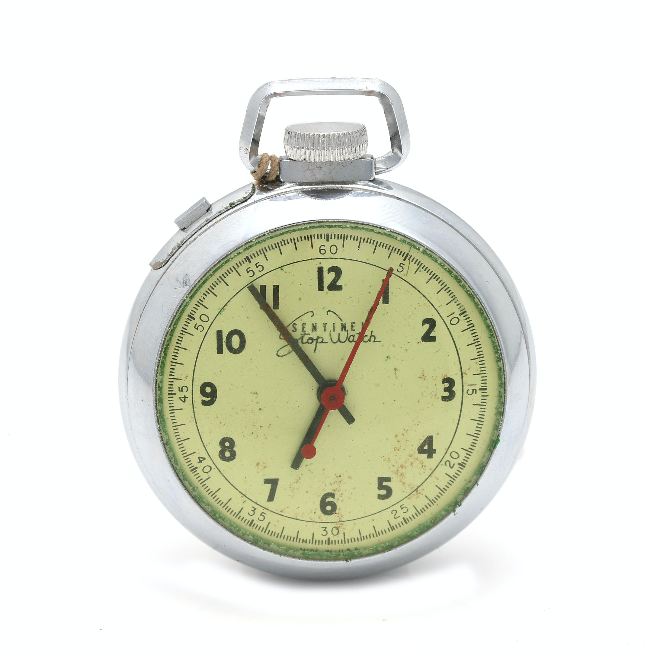 Ingraham Co. Sentinel Silver Tone Stop Watch