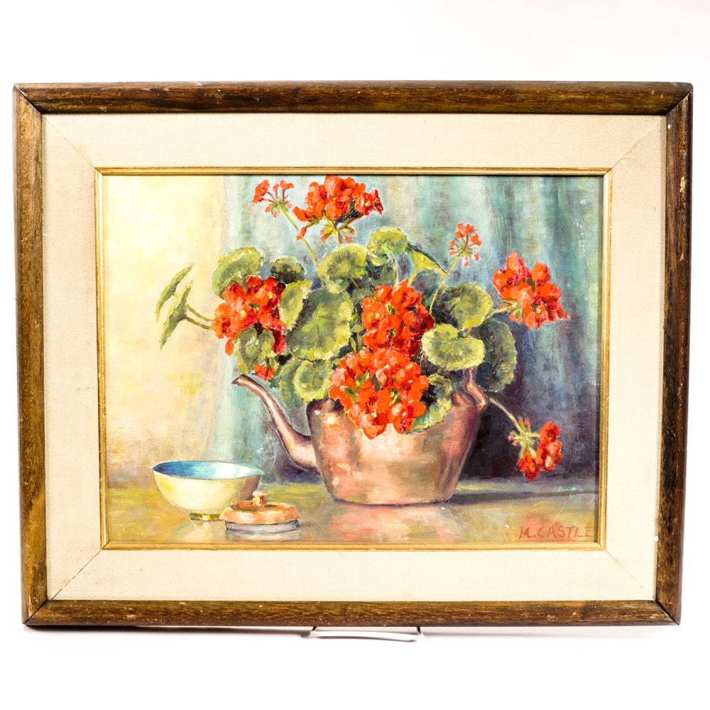 Marion Castle Oil on Canvas Floral Still Life Painting