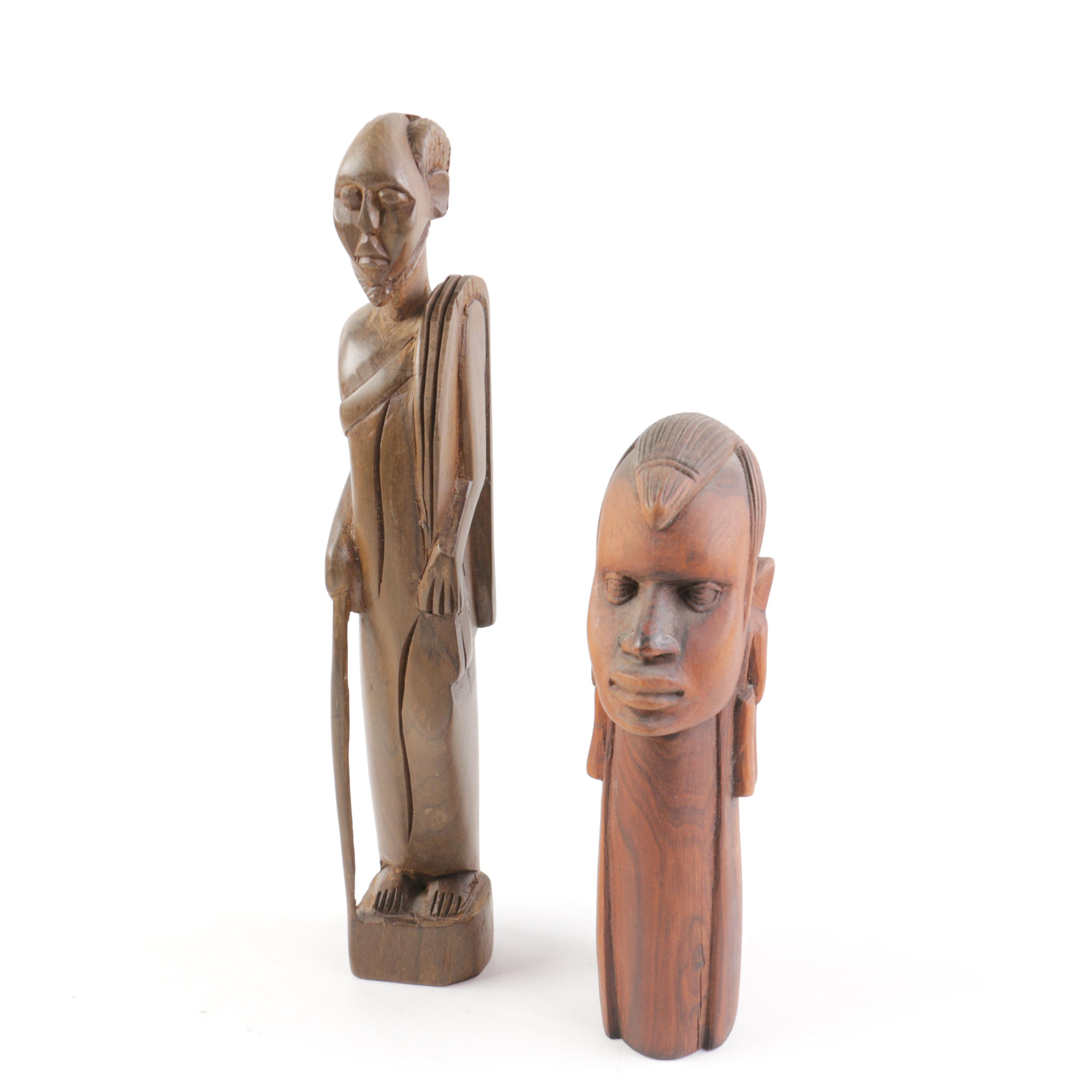 Two African Inspired Carved Wooden Figures Including Isaka Maasai Bust