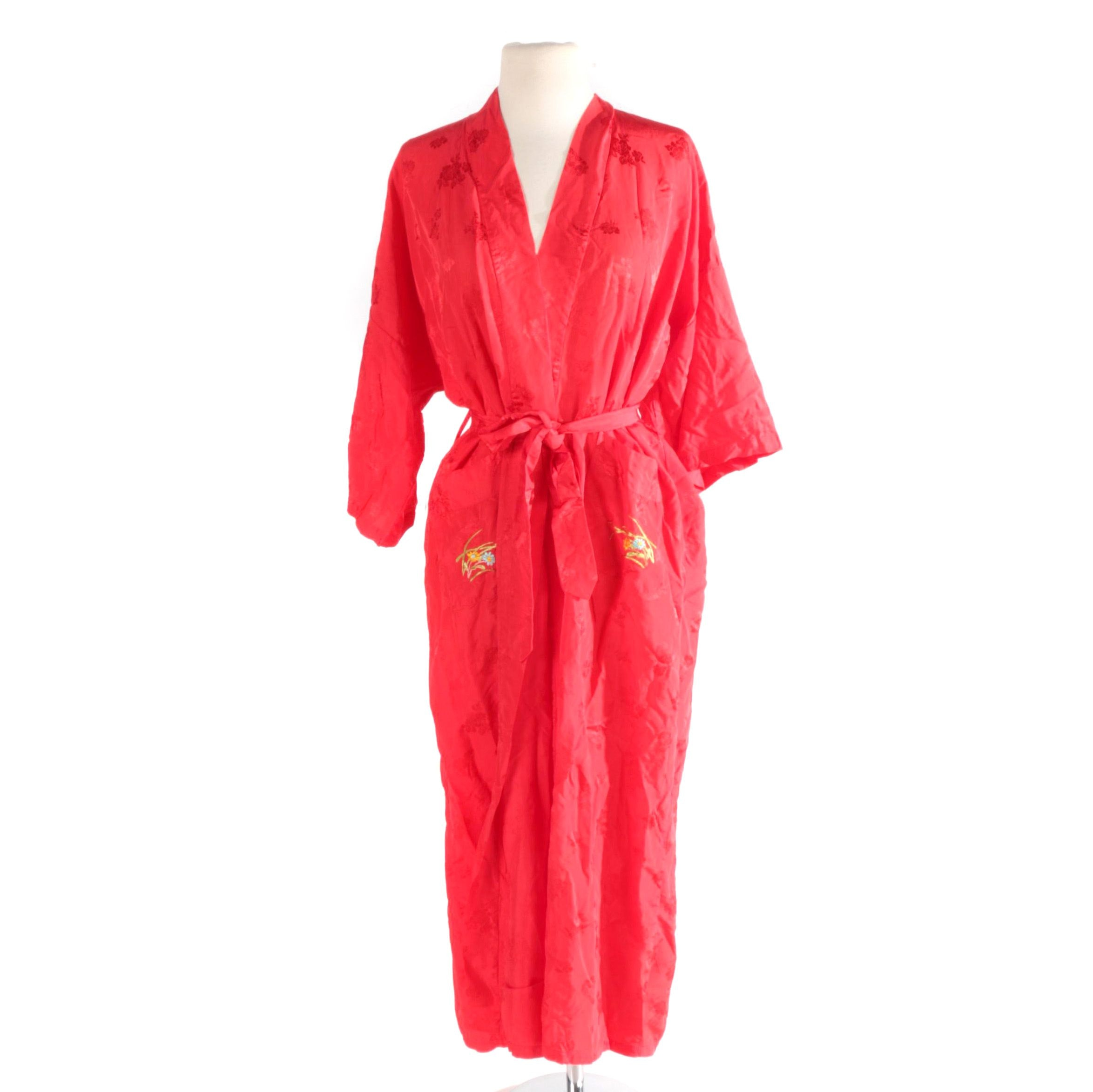 Vintage Chinese Red Brocade Robe with Embroidery