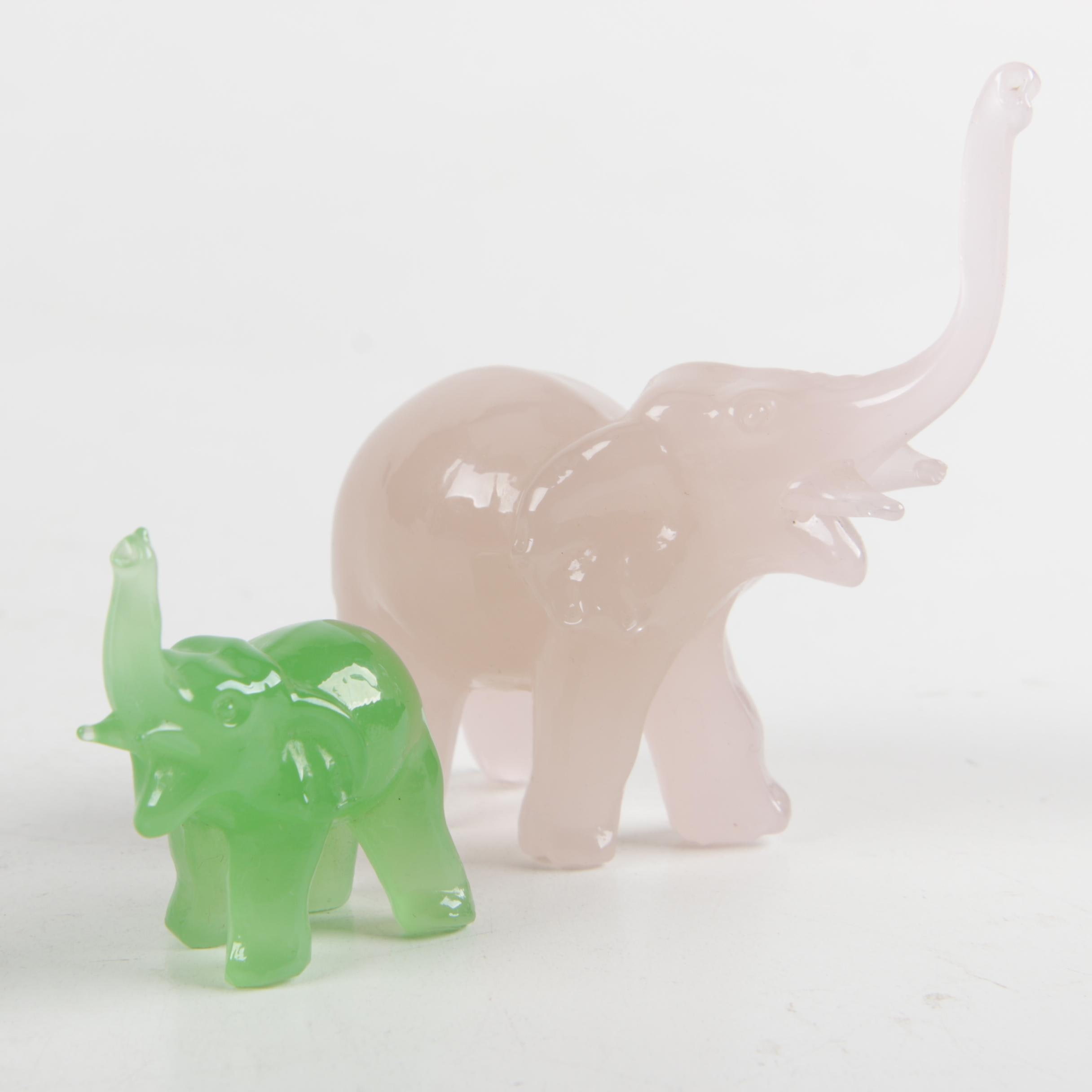 Pair of Glass Elephant Figurines