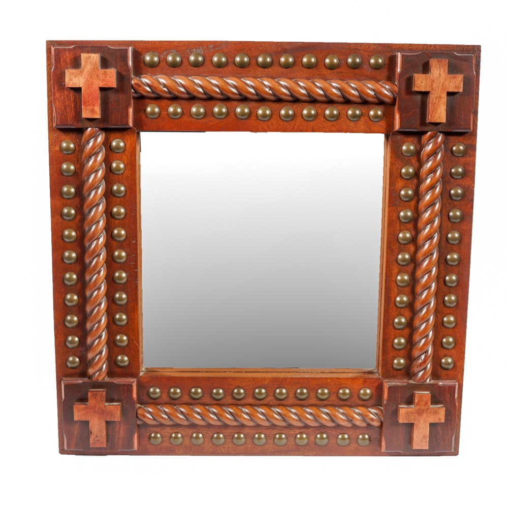 Wall Mirror with Hand Crafted Wood Frame