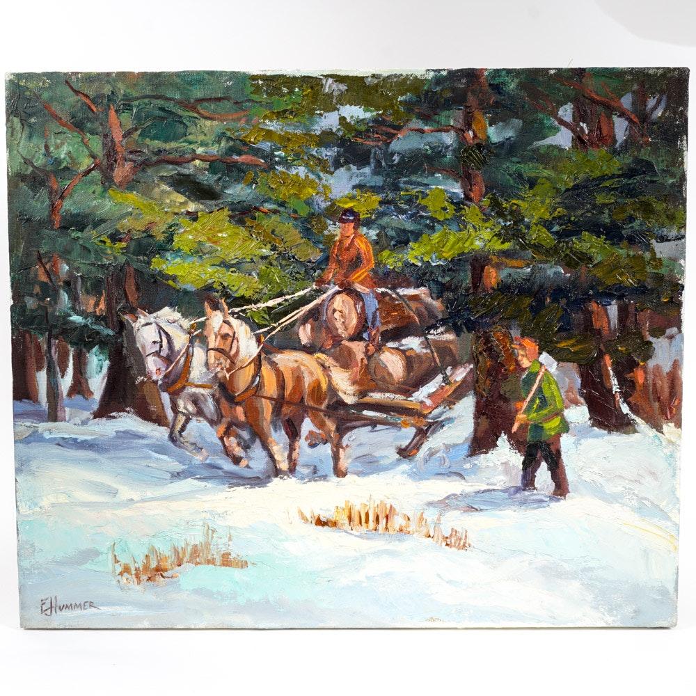 "Edward J. Hummer Original Oil Painting ""Loggers"""