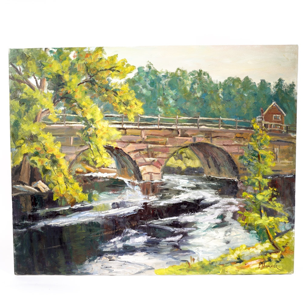 "Judge Edward J. Hummer Original Oil Painting ""Bridge House"""