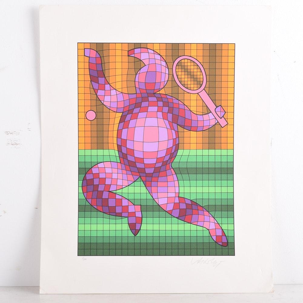 "Victor Vasarely 1977 Serigraph Print ""Tennis Player"""